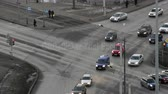 reconstrução : St. Petersburg, trucks and cars at an intersection with the prospect of strikes Stock Footage