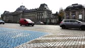 bonde : Belgium, November 24, 2017, Brussels road with blue marking zone for disabled parking Stock Footage