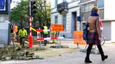 urban renewal : Belgium, 22 November 2017, Leuven, repair work on the streets of the city Stock Footage