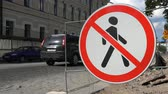 restringido : Russia, July 16, Vyborg Pedestrian traffic prohibited traffic sign Stock Footage