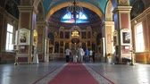 chrzest : Russia, July 16, Vyborg priest in the church performs a secret ritual Wideo