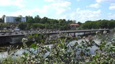 szermierka : Russia, July 16, Vyborg movement of vehicles and people on the Fortress Bridge