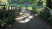 enjoying : girl passes the iron bridge in the fairy forest.