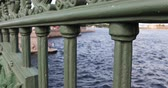 ponte : Russia, St. Petersburg, September 02, 2018 view of the Neva River through the fence of the bridge