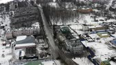 small provincial town in the icy winter. Aerial photography. 무비클립