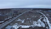 landhaus : panorama of free snowy land for residential construction. Stock Footage