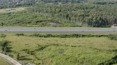 ring road : birch grove near the highway. Stock Footage