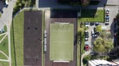 front or back yard : football field with a sports ground in the courtyard of the urban area.