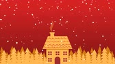 Golden house and trees in snowfall. Christmas looping animation background Stok Video