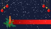 Christmas background with candle, red balls and snowfall