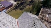 quadcopter : Roofs of houses damaged by hail. Consequences of hail in the village novokorsunskaya Timashevsky district of Krasnodar region 2018.