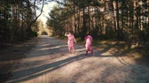 oyun zamanı : Two little girls in dresses are running along the road in the summer forest Stok Video