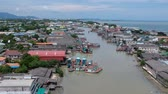 drone point of view : Aerial view of Rayong Estuary Thailand Stock Footage
