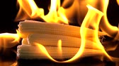 milho doce : Slow motion of fire burning baby corn Vídeos