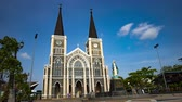 Time lapse of clouds over catholic church in Chanthaburi Thailand