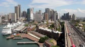 Cityscape view of Sydney Harbour with moving traffic