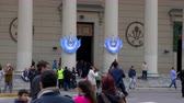 Medium long shot of the Entrance of Buenos Aires Cathedral in May square During Bicentennial independence day celebrations Wideo