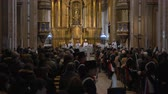 Medium long shot shot Bicentennial of Independence day celebrations in Buenos Aires Cathedral mass, Priest addresses to the crowd, Argentina, July 2016
