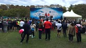 Long shot of the Bicentennial celebration marathon winners podium, Buenos Aires, July 2016