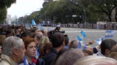 Argentinians expecting the marching bands in Bicentennial independence day celebrations, Buenos Aires, Argentina, July 2016