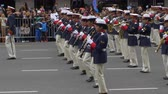 Argentina sideshot marching band musicians in Argentina Bicentennial independence day celebrations, Buenos Aires, Argentina, July 2016