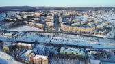 сырье : Vanino of the Khabarovsk Krai . the port of Vanino . filmed from above by drone Стоковые видеозаписи