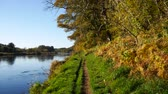 aberdeen : Autumn Landscape and River Dee in Aberdeen, Scotland UK
