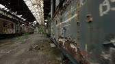 creepy : Cargo trains in old train depot glidecam motion footage