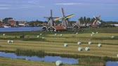 pala eolica : Dutch windmills in Netherlands closeup footage