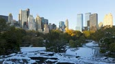 뉴욕시 : Amazing morning to day time lapse view on snow covered Central Park in middle of Manhattan downtown New York cityscape