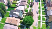небольшой : Beautiful drone panorama aerial tilt shift view on tiny houses villas in suburb town village neighborhood