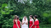 besties : Emotional bride and bridesmaids talking and laughing. Slow motion.