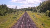 waggon : Railroad. Railway tracks from moving train. Travelling background. Stock Footage
