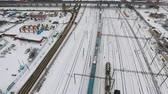 waggon : Aerial view of cargo train delivering goods, fuel, petrolium in winter.