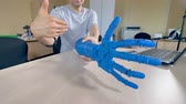 güncelleştirme : A moving bionic arm in close view from all sides. Stok Video