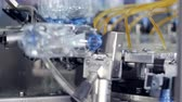 recycling plant : PET bottles being washed at bottled water plant. Stock Footage