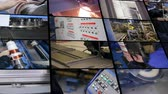 collage : Industrial automated equipment in a ction at modern plant. Industrial montage.