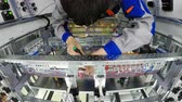 distribution : Worker using screwdriver on electrical equipment, time lapse. Stock Footage