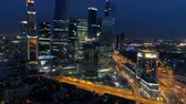 urban renewal : Amazing drone footage of Moscow city at night. Stock Footage