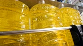 produtos químicos : Equipment at a plant filling bottles with liquid. Stock Footage