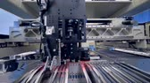electronics industry : A circuit board production machine working at an electronic board plant. Stock Footage