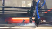 rendilhado : Wood laser cutting machine working. 4K. Stock Footage