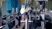sterilized : Factory workers receive rotating milk bottles for delivery. Stock Footage