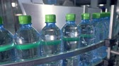 utilization : Filled and capped mineral water bottles. Stock Footage