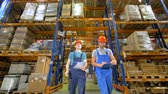 topic : Low angle view on two men overseeing a warehouse condition.