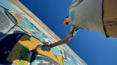 repaint : A ground level view on  a graffitist at work. Stock Footage