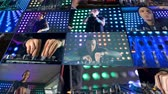 registros : Montage, multiscreen background. DJ at night club playing music using turntables.