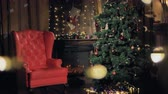 bem vindo : Fireplace decorated for Christmas. Stock Footage
