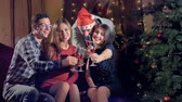 vinho tinto : Four people celebrating Christmas smile and hold out hands with wine glasses.