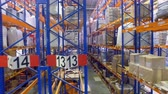 депо : Several half-full warehouse rack rows in a front view.